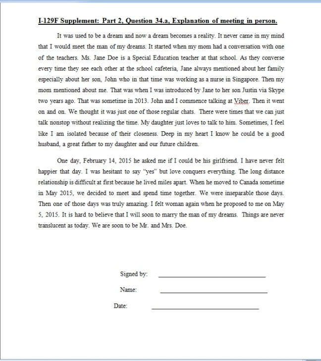 sample letter certifying intent to marry petitioner and beneficiary